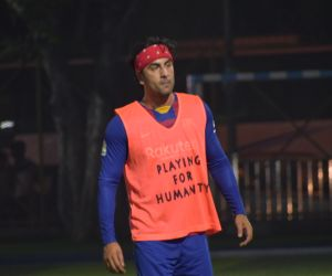 Actor  Ranbir Kapoor Playing football at juhu.