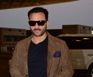 Actor Saif Ali Khan Seen at airport for the shoot of their film Bunty aur Bubbly 2