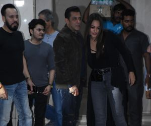 Actor Salman Khan and  Sonakshi Sinha at his  birthday party.