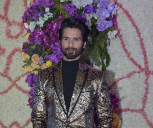 Actor Shahid Kapoor in Sooraj Barjatya's son Devansh wedding reception at Marriott Juhu.