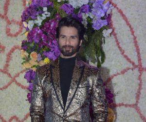 Actor Shahid Kapoor in Sooraj Barjatya's son Devansh wedding reception at Marriott Juhu.