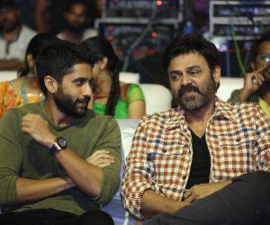 Actor Venkatesh and Akkineni Naga Chaitanya in Venky Mama Pre-release Event Photo.