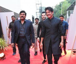 Actors Chiranjeevi and Akkineni Nagarjuna at ANR National Awards 2018-2019.