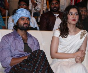 Actors in World Famous Lover Movie Pre Release event at vizag