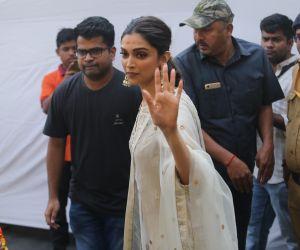 Actress Deepika Padukone visits Sidhivinayak Temple.