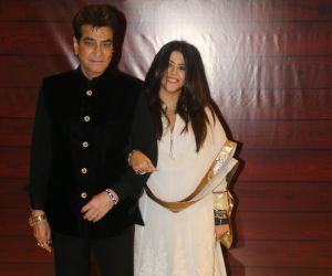 Actress Ekta Kapoor and jeetenda  at Javed Akhtar's Birthday.