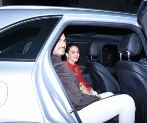 Actress Esha Deol and husband Sahil Takhtani at actor Amitabh Bachchan's Diwali party