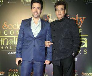 Actor Tusshar Kapoor with his father Jeetendra during Society Awards at Taj Santacruz.