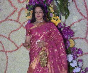 Actress Hema Malini  in Sooraj Barjatya's son Devansh wedding reception at Marriott Juhu.
