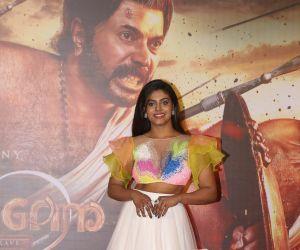 "Actress Iniya at the trailer launch of film ""Mamangam"" in Mumbai"