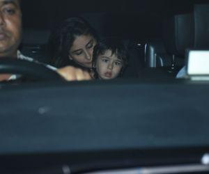 Actress Kareena Kapoor and  Taimur  spotted at Karan Johar's house in bandra