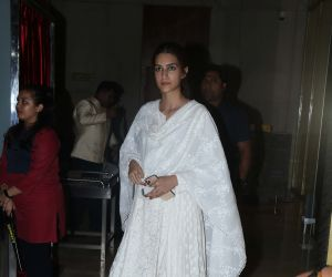 Actress Kriti Sanon attend Manish Malhotra's father's prayer meeting