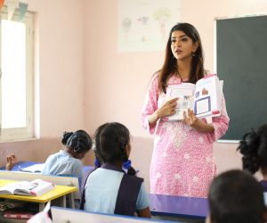 Actress Lakshmi Manchu Volunteers as Teacher for Pega Teach For Change.