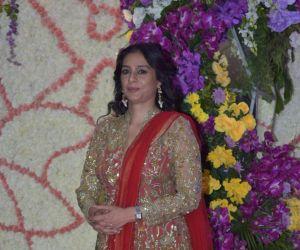 Actress Tabu in Sooraj Barjatya's son Devansh wedding reception at Marriott Juhu