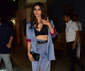 Actress Mouni Roy poses for a photo during the screening of Angrezi Medium at pvr juhu
