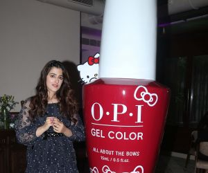 Actress Nupur Sanon at the new collection launch of Opi x hello kitty nail Colors.