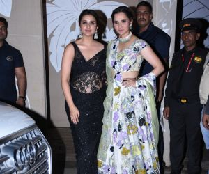 Actress Parineeti Chopra and tennis player Sania Mirza at actor Amitabh Bachchan's Diwali party