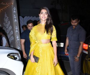 Actress Pooja Hegde at actor Amitabh Bachchan's Diwali party