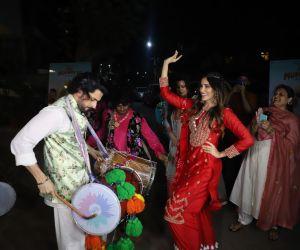 Actors are celebrating in Movie 'Jai Mummy Di' location Site.