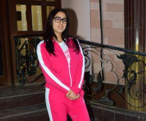 Actress Sara Ali Khan spotted at a dubbing studio in Andheri
