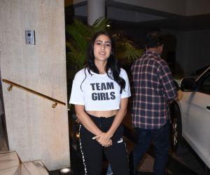 Actress Sara Ali Khan spotted at Manish Malhotra's house in bandra