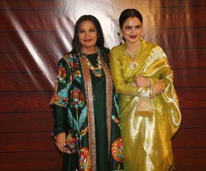 Actress Shabana Azmi and Rekha at Javed Akhtar's Birthday.