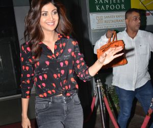 Actress Shilpa Shetty seen at andheri