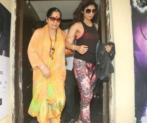 Actress Shilpa Shetty seen at Juhu