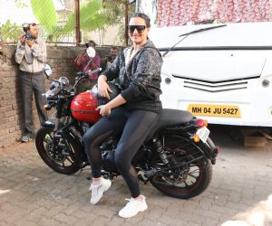 Actress Sonakshi Sinha riding bike at Mehboob