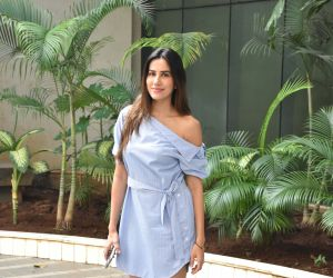 Actress Sonnalli Seygall seen at Luv Films office.
