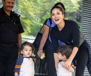 Actress Sunny Leone and kids seen at juhu