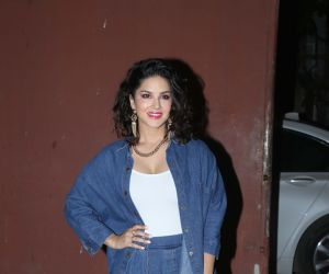 Actress Sunny Leone at Screening of film Ave Maria.