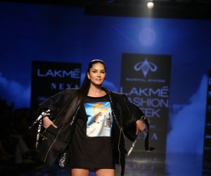 Actress Sunny Leone walks for Swapnil Shinde at Lakme Fashion Week 2020