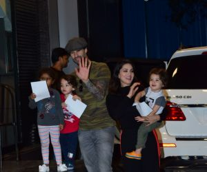Actress Sunny Leone with kids and husband spotted at juhu