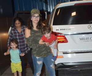 Actress Sunny Leone with kids spotted at juhu.