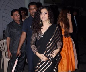 Actress Taapsee Pannu at actor Amitabh Bachchan's Diwali party