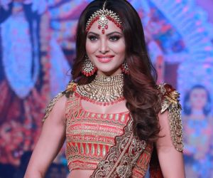 Actress Urvashi Rautela with her Sindoor Collection outfit designed by Rohit Verma