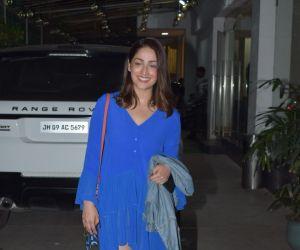 """Actress Yami Gautam at the screening of her upcoming film """"Bala"""" in Mumbai"""