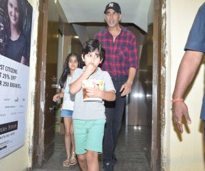 Actor Akshay Kumar and daughter spotted at pvr juhu.