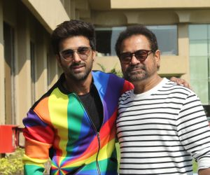 Director Anees Bazmi with actor Pulkit Samrat during the promotions of their upcoming film Pagalpanti