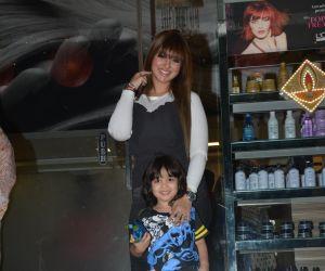 Ayesha Takia Spotted With Son At Freeda Salon In Bandra