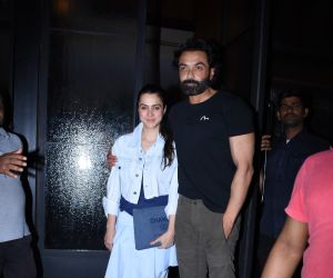 Actor Bobby Deol and family seen at Pali village cafe in bandra.