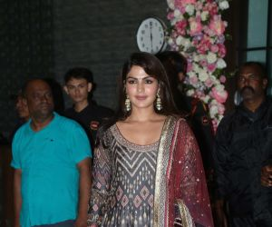 Bollywood celebs Rhea Chakraborty at Arpita Khan's home for Ganesh darshan