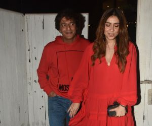 Actor Chunky Pandey and Bhavna Pandey seen at Bandra.