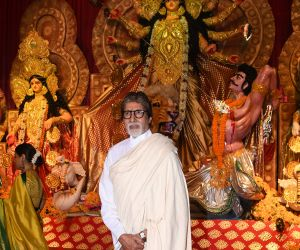 Amitabh Bachchan at Durga Puja in juhu