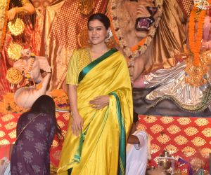 Kajol at Durga Puja in juhu with Yellow Saree