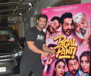Actor John Abraham During the Screening of Movie Pagalpanti at sunny sound juhu.