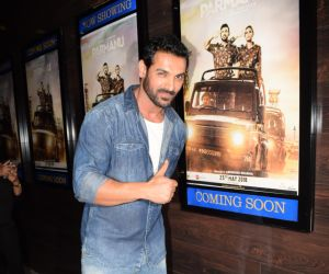 John Abraham visits spotted fun cinema for press show of his film Parmanu