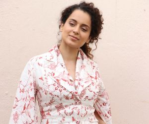Kangana Ranaut poses for a picture as she attends the promotion of her upcoming Hindi film 'Judgementall Hai Kya', at Mehboob Studio