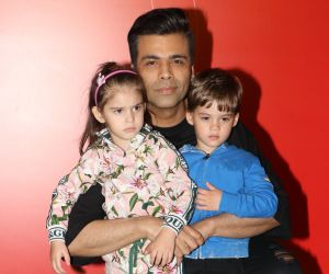 Karan Johar with his Kids At The Premier Night Of Jio Wonderland.